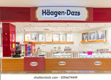 Philadelphia, Pennsylvania, May 19 2018: Haagen-Dazs ice cream store in shopping mall. Haagen-Dazs is an American ice cream brand from New York. The business now has franchises throughout the world.