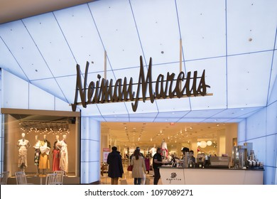 Philadelphia, Pennsylvania, May 19 2018: Neiman Marcus store entrance and logo. Neiman-Marcus, is an American luxury specialty department store owned by the Neiman Marcus Group.