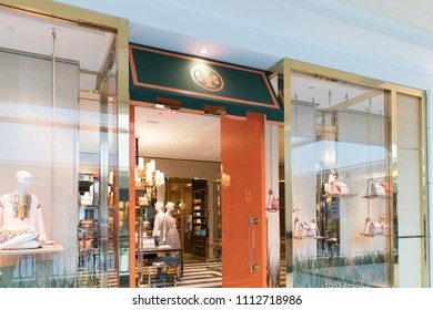 Philadelphia, Pennsylvania, May 19 2018: Tory Burch store front. Tory Burch is an American fashion label owned, operated and founded by American designer Tory Burch.