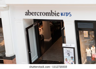 Philadelphia, Pennsylvania, May 19 2018:  A view of the Abercrombie kids store front.