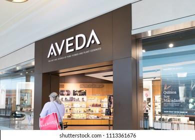 Philadelphia, Pennsylvania, May 19 2018: cosmetics on display at Aveda store in Philadelphiar shopping center.