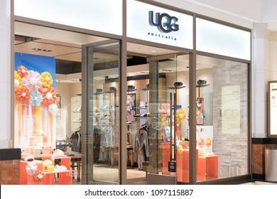 Philadelphia, Pennsylvania, May 21 2018: UGG store in Philadelphia. UGG is an American footwear company and a division of Deckers Brands founded in 1978 by Brian Smith store.