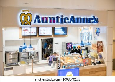 Philadelphia, Pennsylvania, May 21 2018: Auntie Anne's is Original Pretzel and lemonade