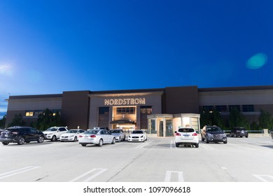 Philadelphia, Pennsylvania, May 21 2018:Nordstrom Retail Mall Location. Nordstrom is Known for its Service and Fashion V. at night