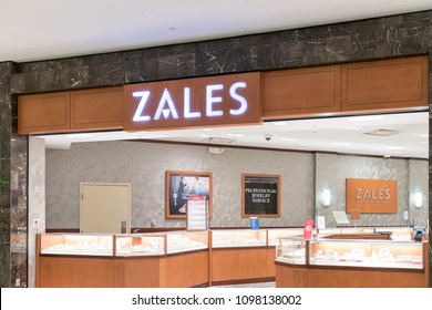 Philadelphia, Pennsylvania, May 21 2018:Zales sign inside in mall jewelery store