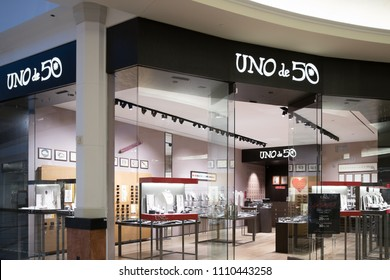 Philadelphia, Pennsylvania, May 30 2018: UNO de 50 storefront in the Philadelphia Center mall, the Spanish costume jewellery and accessories brand.