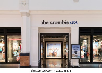 Philadelphia, Pennsylvania, May 30 2018: A view of the  Abercrombie kids store front.