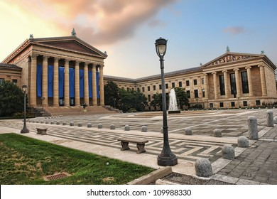 The Philadelphia Pennsylvania Museum of Art East entrance and North wing buildings and empty main plaza with Greek revival style facade
