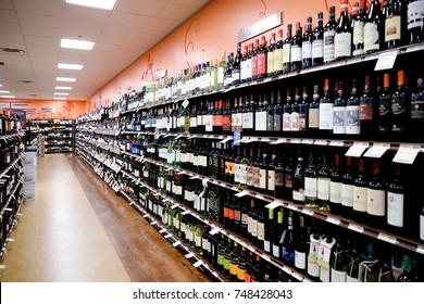 Philadelphia, Pennsylvania November 3 2017: Fine Wine & Good Spirits store wine shelf