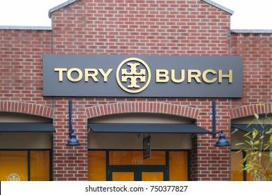 Philadelphia, Pennsylvania November 4 2017: Tory Burch Logo On Store Front Sign.
