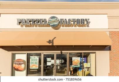 Philadelphia, Pennsylvania - November 6, 2017: Philly pretzel factory store