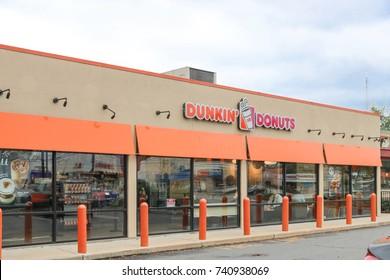 Philadelphia, Pennsylvania - October 16, 2017: Dunkin' Donuts restauraunt exterior. Dunkin' Donuts is a doughnut company and coffeehouse chain.