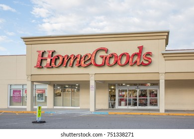 Philadelphia, Pennsylvania - October 16, 2017:HomeGoods retail store exterior and sign. HomeGoods is a chain of home furnishing stores operated by TJX Companies.