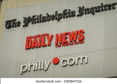 Philadelphia, Pennsylvania - October, 2019: Sign on a building for the Philadelphia Inquirer, Daily News and Philly.com