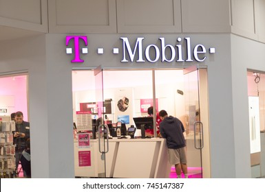 Philadelphia Pennsylvania October 29 2017: T-Mobile Retail Wireless Store. T-Mobile is a Wireless Provider Offering Cell Phones, Data Plans, Internet Devices & Accessories III