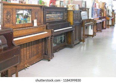 Philadelphia, Pennsylvania, September 14, 2018:Vintage piano in American Treasure Tour is a tourist attraction established in 2010 and opened to the public for guided tours.