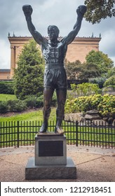 Philadelphia, Pennsylvania, September 21, 2018: Statue of Rocky Balboa, character played in the movie Rocky, by Sylvester Stallone, in the gardens of the Philadelphia Museum of Art.