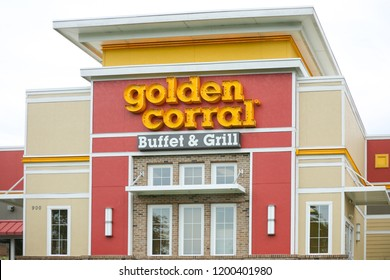 Philadelphia, Pennsylvania, September 23, 2018:Exterior of Golden Corral Buffet and Grill restaurant location. Golden Corral is a chain restaurant that offers an all-you-can-eat buffet at over 500 loc
