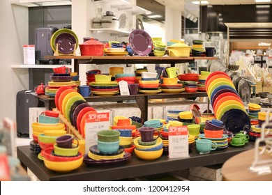 Philadelphia, Pennsylvania, September 23, 2018:Plates on the shelf in Philadelphia macy's store Macy's Department Store. Macy's, Inc. is one of the Nation's Premier Omnichannel Retailers II