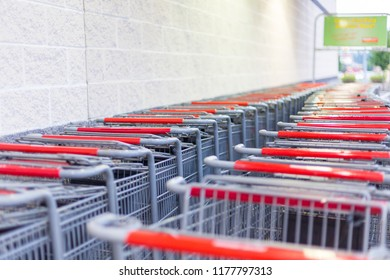 Philadelphia, Pennsylvania, September 7, 2018:Grocery Outlet store shopping cart. Grocery Outlet Inc., is a private, family-owned supermarket franchise chain in the United States.