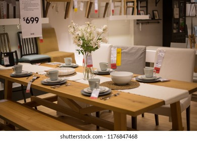 Philadelphia Pennsylvania September 8, 2018: A sample of the interior in IKEA store, ,IKEA was founded in of Sweden in 1943, IKEA to have large chain stores around the world