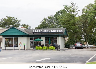 Philadelphia, Pennsylvania, September 8, 2018:Starbucks Coffee Outlet in Philadelphia. Starbucks is an American global coffee company and is the largest coffeehouse company in the world.