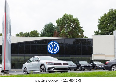 Philadelphia  Pennsylvania  September 8, 2018:Volkswagen logo on a facade. Volkswagen is a German car manufacturer headquartered in Wolfsburg, Germany