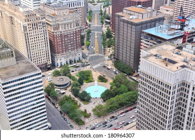 Philadelphia, Pennsylvania in the United States. Aerial view of the city with famous JFK Plaza.