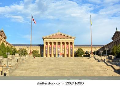 Philadelphia, Pennsylvania, United States of America - October 14, 2015. Famous Rocky Steps leading to the Philadelphia Museum of Art.
