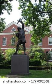 Philadelphia, Pennsylvania, United States - June 24 2019: View of The Signer statue