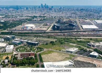 Philadelphia, Pennsylvania / United States - May 26, 2019: Aerial Cityscape Philadelphia