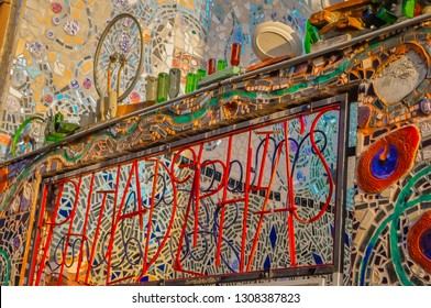 Philadelphia, Pennsylvania / USA - 05 26 2014: Philadelphia's magic gardens made of recycled glass and other materials. Tourism attraction, art gallery, community, and environment in Philly's downtown