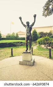 Philadelphia, Pennsylvania, USA - 16 October, 2016: Metal statue of boxer (Rocky Balboa) with hands up in the Philadelphia Museum of Art