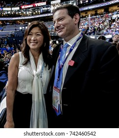 Philadelphia, Pennsylvania, USA, 25th July, 2016 JuJu Chang of ABC News and Mark Halperin of Bloomberg television chat with each other during the Democratic National Convention in Wells Fargo arena
