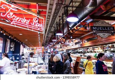 Philadelphia, Pennsylvania, USA - 26 April 2019: Termini Bros and Mueller Chocolate Company doing buisness in Reading Market.