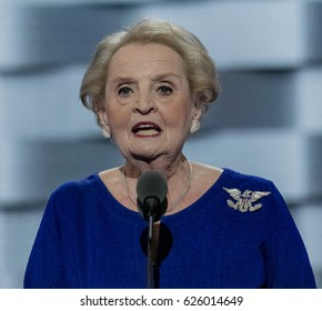 Philadelphia, Pennsylvania, USA, 26Th July, 2016  Former Secretary of State Madeline Albright addresses the Democratic National Nominating Convention in the Wells Fargo Arena, Credit: Mark Reinstein