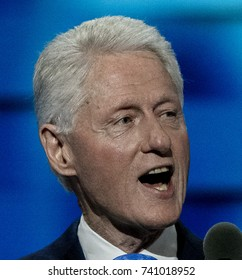 Philadelphia Pennsylvania, USA, 26th July, 2016 Former President William Jefferson Clinton addresses the Democratic National Convention in the Wells Fargo Arena