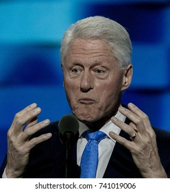 Philadelphia Pennsylvania, USA, 26th July, 2016 Former President William Jefferson Clinton addresses the Democratic National Convention in the Wells Fargo Arena