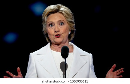 Philadelphia Pennsylvania, USA, 28th July, 2016Former First Lady Hillary Clinton addresses the Democratic National Nominating Convention in the Wells Fargo Arena