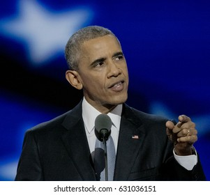 Philadelphia, Pennsylvania, USA, 28th July, 2016 President Barak Obama addresses the Democratic National Nominating Convention in the Wells Fargo Arena, Thursday night Credit: Mark Reinstein