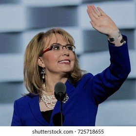 Philadelphia, Pennsylvania, USA, 28th, July, 2016 Former congresswoman Gabrielle Giffords walks out onstage and addresses the DNC.