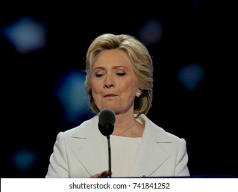 Philadelphia Pennsylvania, USA, 28th July, 2016 Former First Lady Hillary Clinton addresses the Democratic National Nominating Convention in the Wells Fargo Arena