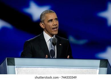 Philadelphia, Pennsylvania, USA, 28th July, 2016President Barak Obama addresses the Democratic National Nominating Convention Thursday night in the Wells Fargo Sports Arena