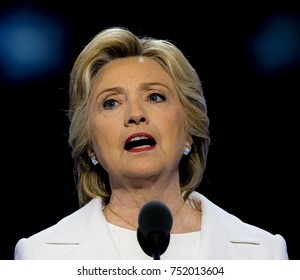 Philadelphia Pennsylvania, USA, 28th July 2016 Former First Lady and Secretary of State Hillary Clinton addresses the Democratic National Convention from the podium of the Wells Fargo Sports Arena