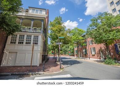 PHILADELPHIA, PENNSYLVANIA, USA - August, 2018: cityscape. walking the downtown streets in Philadelphia, Pennsylvania, USA.