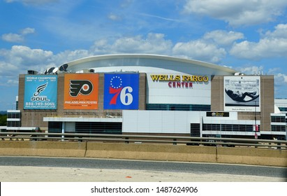 Philadelphia, Pennsylvania, U.S.A - August 23, 2019 - The view of Wells Fargo Center from Interstate 95 South during the day