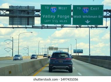 Philadelphia, Pennsylvania, U.S.A - August 23, 2019 - Traffic on Interstate 76 West towards Valley Forge and 76 East to Walt Whitman Bridge