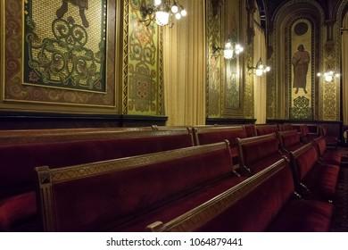 Philadelphia, Pennsylvania, USA – August 3, 2016: Horizontal shot of the Renaissance Hall at the Masonic Temple interior, Broad St, Philadelphia, Pennsylvania