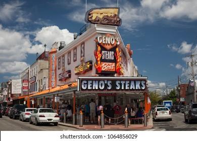 Philadelphia, Pennsylvania, USA – August 4, 2016: Geno's Steaks façade in 9th St, South Philly, Philadelphia, Pennsylvania