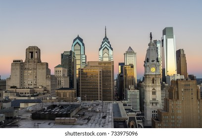 Philadelphia, Pennsylvania, USA center city skyline at sunrise